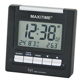 Maxitime Funkwecker 0950545 schwarz silber mit Displayanzeige