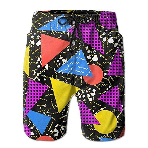 Retro Vintage 80er Jahre Memphis Fashion Style Herren Casual Shorts Badeshorts Beach Board Shorts Gr. S 7-9, weiß (80er Jungen Kleidung Jahre)