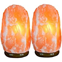Set of 2 Himalayan Salt Lamp 2-3 kg Size 17-19 cm - Beautiful Pink Coloured and High Crystal Quality with Life Time Warranty by Magic Salt