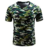 Longra☾ Camiseta Hombre, Camiseta de Camuflaje Hombre Militares Camisetas Deporte Ropa Deportiva Camisa de Manga Corta de Camuflaje Slim fit Casual para Hombres Tops Blusa (Verde, L)