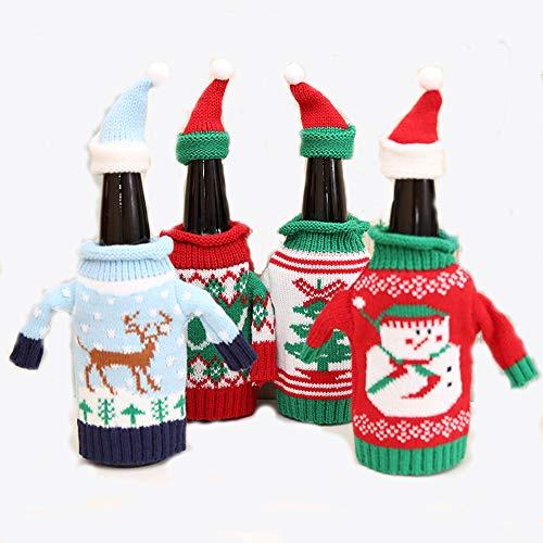 PUDDINGY® 4 Stück Christmas Sweater Weinflasche Decken, Handgemachte Hässliche Weinflasche Pullover Santa Red Weinflasche Kleid Sets Xmas Party Kit Dekorationen
