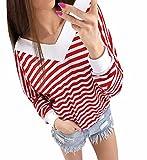 Rosennie Damen Tiefer V-Ausschnitt Sweatshirt Herbst Schwarz Weiss Gestreift Bluse Lange Ärmel Beiläufig Tops T-Shirt (Asiatisch M, Rot)