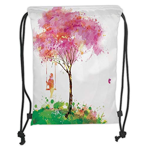 1bb6d69aa0 Icndpshorts Apartment Decor,Spring Blossoming Tree and Dreaming Girl on  Swing Chilhood Memories Artsy Watercolor