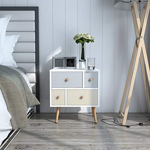 Lifewit Nachttisch Nachtschrank Nachtkommode Beistelltisch Sofatisch Wohnzimmertisch Stoffschublade im modernen Retro-Design