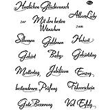 """Viva Decor My Paper World Silikon-Stempel 043 Set mit 18 Stempel, """"Text I"""", Clearstempel, Wünsche zu Geburtstag, Hochzeit, Geburt, Führerschein, Prüfung, Einzug, Muttertag, Jubiläum, Baby, Liebe"""