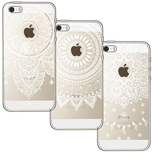 [3 Stück] iPhone 5 Hülle, iPhone 5S Hülle, iPhone SE Hülle, Blossom01 Cute Funny Kreative Cartoon Transparent Silikon Bumper für iPhone 5 / 5S / SE - 3 * Mandala