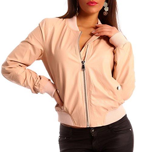 Damen Jacke Bomberjacke Jacket Flieger Jacke Kunstleder, Farbe:Rose;Größe:38
