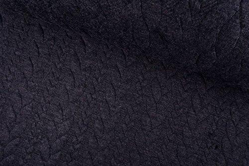 Qualitativ hochwertiger, gemusterter Jersey Stoff mit Strickstoff mit Zopfmuster in Schwarz als Meterware mit Öko-Tex Zertifizierung zum kreativen Nähen von Kinder- und Erwachsen Kleidung, 50 cm