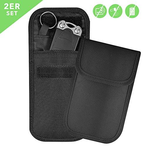 Keyless Go Schutz Autoschlüssel Mini RFID [Alle Marken] + Extra Schutzhüllen & Karten Blocker - Diebstahlsicherer Funk Blocker Abschirmung Hülle [NFC LTE GSM WLAN] Car Key Safe