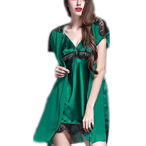 GJX Ladies Satin Pyjama de soie mis un pyjama soyeux manches longues Green
