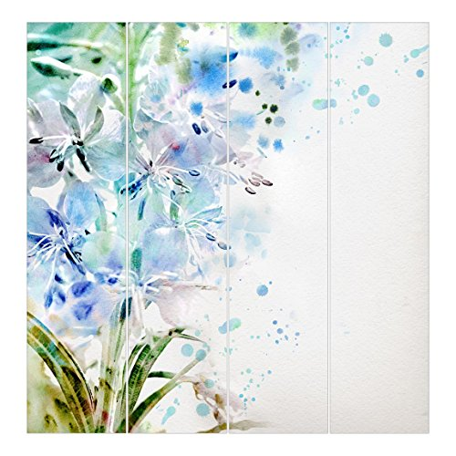 Bilderwelten Cortinas deslizables set - Watercolour Flowers Lilies - 4 Paneles japoneses, cortina de panel deslizante panel cortina incl. sistema de montaje, Sistema de montaje: Sin montaje, Tamaño: 250 x 240cm (4 paneles de 250 x 60cm)
