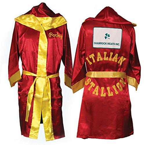 Italian Stallion Rocky Robe Film Shamrock Meats Hood Red Boxer Kostüm (Kostüm Italian Stallion)