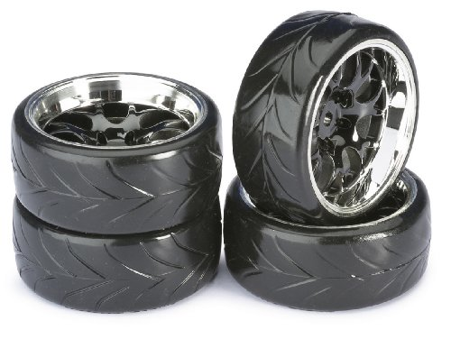 ABSIMA - Wheel Set Drift LP  Comb/Profile A black/chrome 1:10 (4 pcs) (2510040)