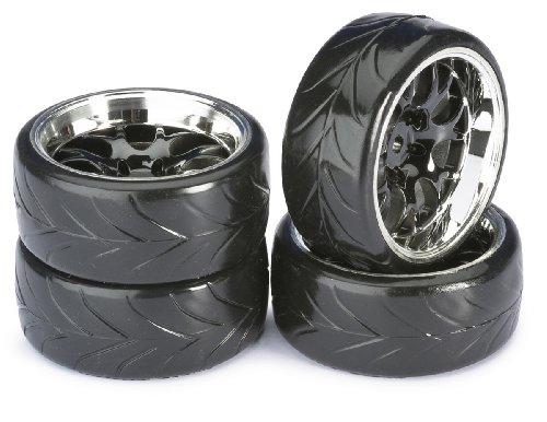 ABSIMA - Wheel set Drift LP Comb/Profile A Black/Chrome 1 : 10 (lot de 4) (2510040)