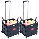 DXP 2er Einkaufstrolley bis 35kg Transport Trolley klappbar Einkaufswagen Transportwagen Klappbox Shopping Trolley Aluminium Kunststoff Schwarz (2) WS-01