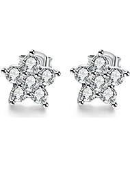 DD Boucles D'Oreilles En Argent Spécialement Fabriquées Avec Un Cristal Diamond White Étincelant( Platinum Plated1Cmx1Cm )