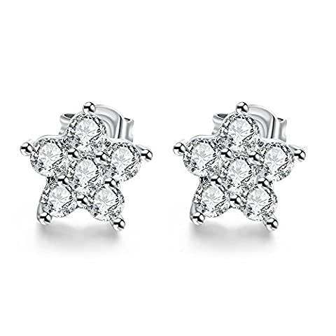 DD Silver Shining Diamond Pattern Cubic Zirconia Inlay Earrings Jewelry( Platinum Plated1Cmx1Cm )