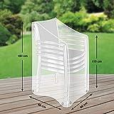 Klassik Schutzhülle für Stapelstühle/Gartenstühle aus PE-Bändchengewebe - transparent - von 'mehr Garten' - Größe L