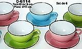 Supernova Decoracion_Set 6 tazas jumbo de consomé con plato de porcelana Surtida de 3 colores rosa,verde,celeste.Medidas Tazas: 14X8CM Plato: 19CM_