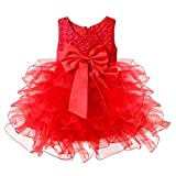 iEFiEL Vestidos de Princesa para Bebé Niña (3 Meses-4 Años) Boda Bautizo Fiesta Varios Colores Rojo 2 años