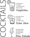 GRAZDesign 300022_30_WT090 Wandtattoo Küche Rezept Cocktails Caipirinha Cuba Küchentattoo/Deko für Küchenwand (37x30cm//090 Silbergrau)