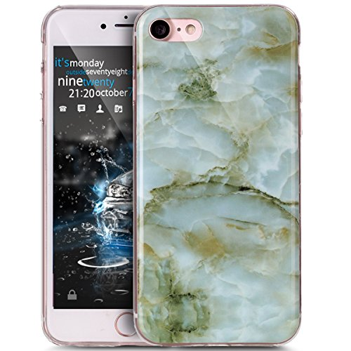 iPhone 8 Hülle,iPhone 7 Hülle,ikasus® TPU Silikon Hülle Schutz Handy Hülle Case Tasche Etui Bumper Crystal Case Hülle für Apple iPhone 8 / iPhone 7 Glänzende Marmor Textur Muster Weich TPU Marble Sili Grün Marble