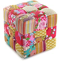 Versa 19500230 Taburete cubo puff asiento Pink Patchwork, 35x35x35cm, Multicolor