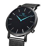 Welly Merck Damen Analog Uhren Schweizer Quarzwerk Mit Schwarz Edelstahl Armbänder W-C10M2
