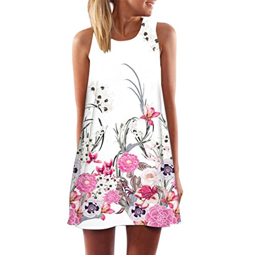 MRULIC Damen Lovely Mini Floral Printing A-Linie Kleider Beach Dress Vintage Boho Frauen Sommer Ärmelloses Party Kleide (B-Weiß,EU-46/CN-2XL)