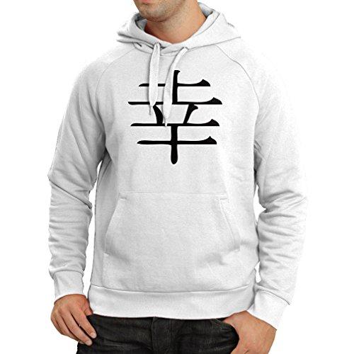 lepni.me Felpa con Cappuccio Logogramma della Felicità - Simbolo Kanji  Cinese/Giapponese Bianco