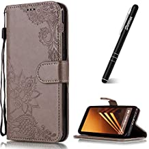 Slynmax - Funda de piel con tapa para Samsung Galaxy A8 2018 (incluye lápiz capacitivo), diseño de flores, gris
