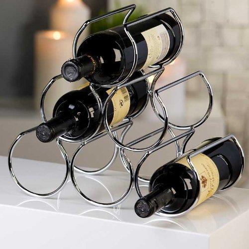 Verchromter Weinflaschenhalter SIX Höhe 28,5 cm Breite 31 cm Tiefe 17 cm