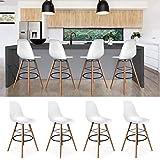 IDMarket - Lot de 4 Tabourets de Bar Design scandinave Blanc