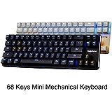 Qisan Gaming Keyboard Mechanical Keyboard Backlit Red Switch 68-Keys Mini Design (60%) Come with Free Data OTG Case White Plate Deep Grey Magicforce