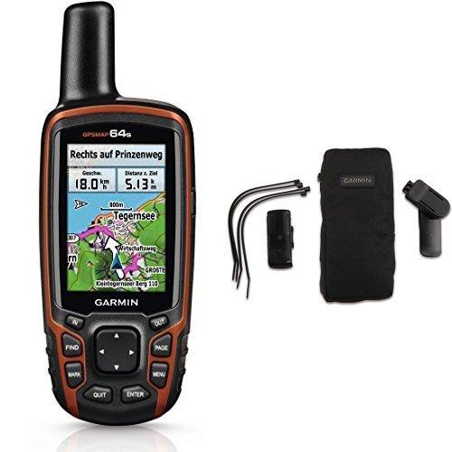 Garmin GPSMAP 64s Navigationshandgerät - 2,6''-Farbdisplay, barometrischer Höhenmesser, Live Tracking & Garmin Outdoor-Halterungspaket mit Tasche kompatibel mit vielen Garmin Outdoor GPS Geräten