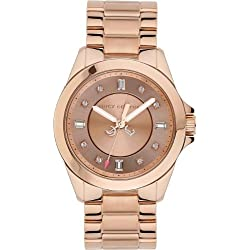 Juicy Couture Stella Women's Quartz Watch with Rose Gold Dial Analogue Display and Rose Gold Stainless Steel Plated Bracelet 1901036