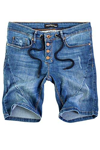 Merish Herren Kurze Jeans Hose Shorts Bermuda Neu 3013 Blau 29