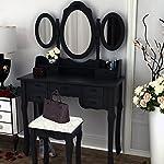 Toeletta vintage/retro con 7cassetti, specchio regolabile e sgabello, mobile per il trucco e la camera da letto, nero