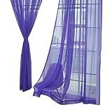 Nibesser Transparente Gardine Vorhang Dekoschal Fensterschal aus 100% Polyester 100x200cm 2 Stück (Lila)