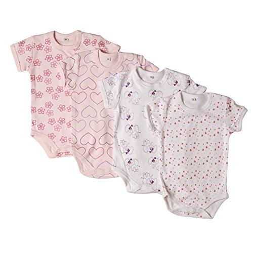 Pippi Baby - Mädchen Kurzarm Shirt Body Ss Ao-Printed (4-Pack),, Gr. 68 cm,Rosa (Ligthrose)