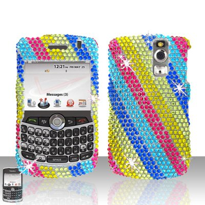 Diamond Protector Faceplate (Zizo Sparkling Blue Pink Yellow Raibow Stripe Full Diamond Rhinestones Bling Design - Snap On Hard Cover Protector Faceplate Case for Blackberry Curve 8300 8310 8320 8330)
