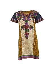 Krisha Fashion Women's Cotton Cream Short Sleeve Kurti