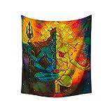 Nunbee Tapisserie Wandbehang Religion Mandala Forestière Hippie Etoile Elephant Tapisserie murales Indienne 3D Wall noël Tapestry Chambre d'étudiant Décoratifs, Statue de Bouddha 150 * 130cm