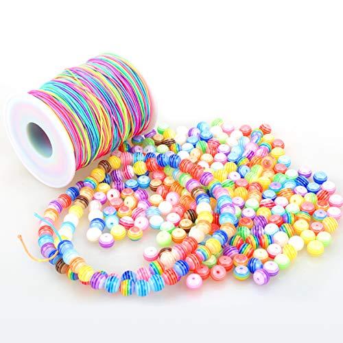 ZesNice 300 Stück Bunte Perlen Zum Auffädeln mit 100 m Elastisch Schnur, Rund Perlen mit Nylon Regenbogen Perlenschnur für Armbänder Schmuck Basteln, Geschenk...