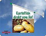Werbeflagge (Fahne mit über 50 Varianten, Text und Bild, z.B. Eis, Döner, Kaffee, Crepes, Waffeln, Pommes uvm.) Ideal für Kiosk, Restaurant oder Kirmes, weiß (Kartoffeln)