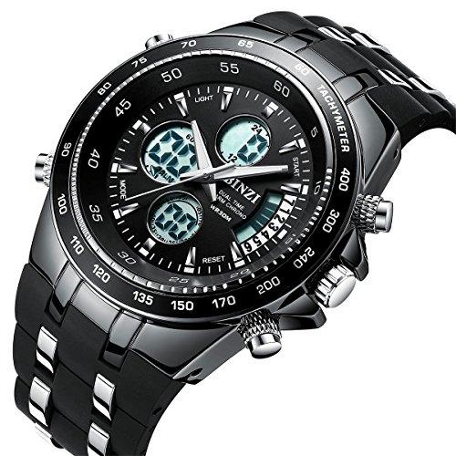Herrenuhren, BINZI Sport-Uhren Digitaluhr Quarzuhr Luxus LED Licht Dual Display Armbanduhr, Multifunktions-Analog Watches mit Wecker Alarm und Chronograph Datum