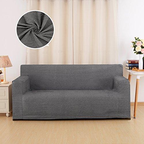 Deconovo Housse de Canape 3 Places en Coton avec Accoudoirs Protection pour Canape Decoration Salon Chambre 90x60x206cm - Gris