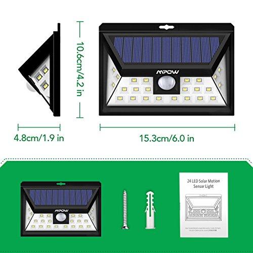 Mpow 24 LED Weitwinkel Solarleuchten, Bewegungs-Sensor-Licht für Garten - 7