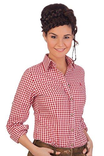 Trachten Bluse, langer Arm - BASIC - rot, blau, Größe 48