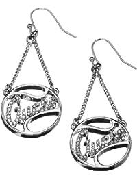 Guess Damen-Ohrringe Silberfarben Rhodiniert mit Weißen Schmucksteinchen UBE12001